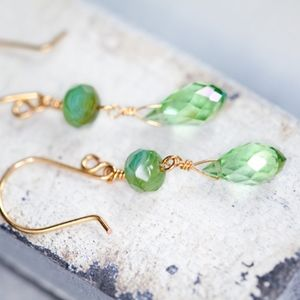 Small Green Glass Earrings NWT